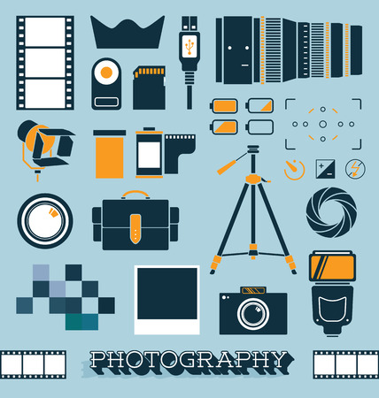 compact camera: Set of Photography and Camera Objects Illustration