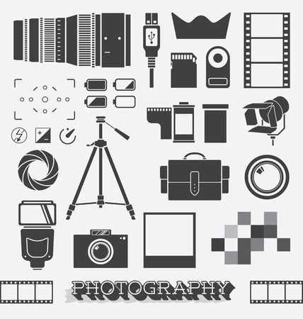remote control: Set of Photography and Camera Objects Illustration