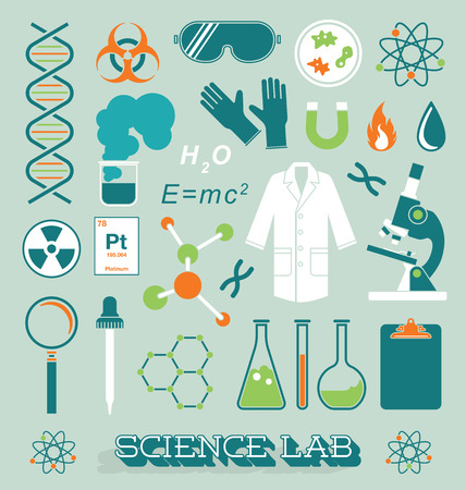 lab coats: Vector Set of Science Lab Icons and Objects Illustration