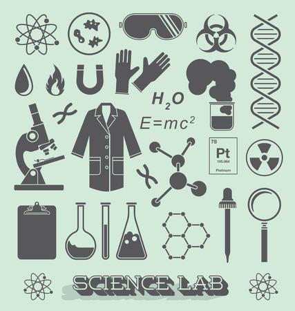 과학 실험실 아이콘 및 개체의 집합 일러스트