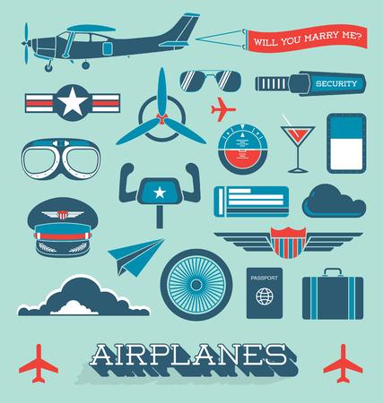 飛行機とフライトのアイコンとオブジェクトのセット  イラスト・ベクター素材