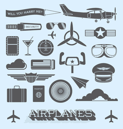 Set of Airplanes and Flight Icons and Objects Stock Illustratie