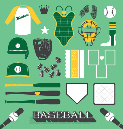 Vector Set of Baseball Objects and Icons Vector