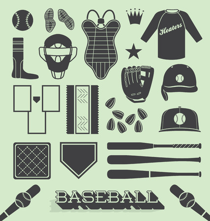Set of Baseball Objects and Icons Vector