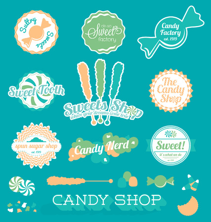 spun sugar: Set of Candy Shop Icons and Labels