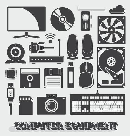 disco duro: Vector conjunto de equipos informáticos Icons and Objects