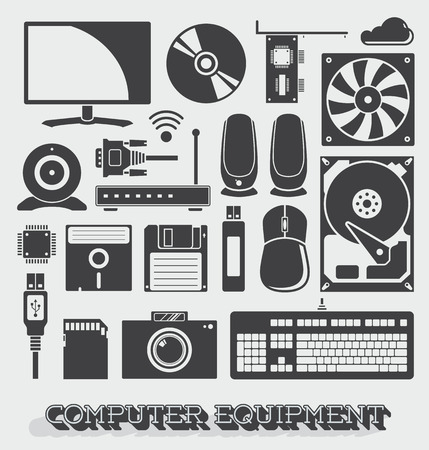 hard drive: Vector Set of Computer Equipment Icons and Objects