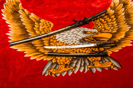 Japanese Samurai long (katana) and short (wakizashi) swords (Daisho) on plush eagle background