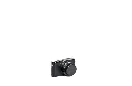 A sophisticated point and shoot camera isolated on white background