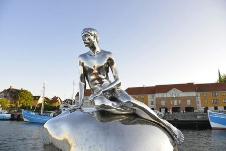 merman: The Little Merman statue Denmark Helsingor Stock Photo