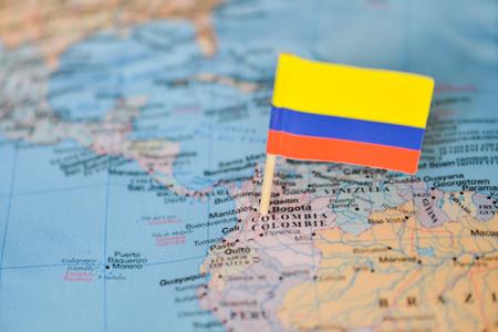 Carte avec le drapeau de la Colombie