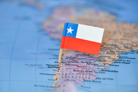 Map with flag of Chile