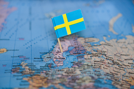 Map with flag of Sweden