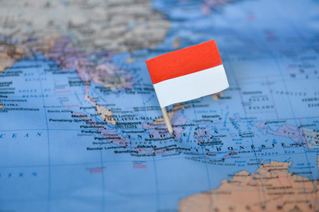 Map with flag of Indonesia 版權商用圖片