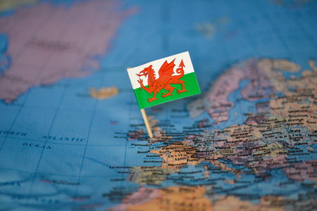 Map with flag of Wales