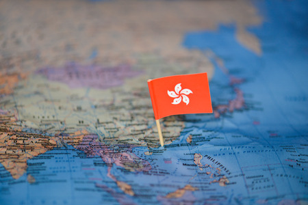 Map with flag of Hong Kong 版權商用圖片