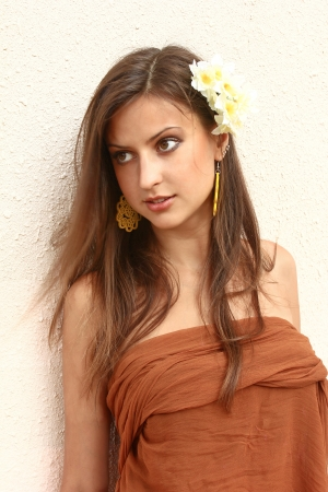 beautiful girl in the east, along with jasmine flowers      photo