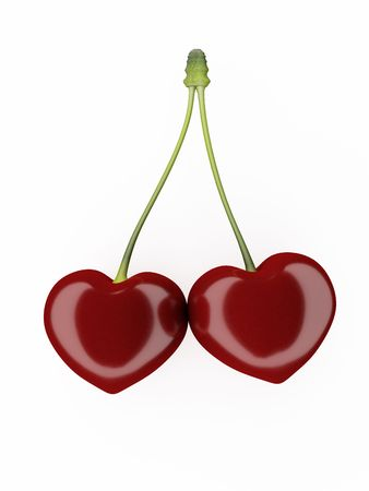 Image of Two hearts of a cherry