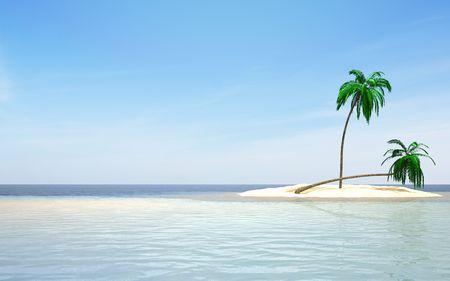 Sea island two palm  Stock Photo