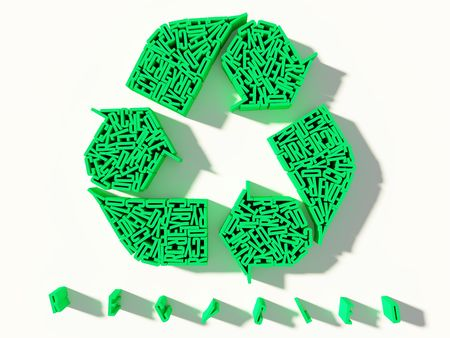 green recycled letters