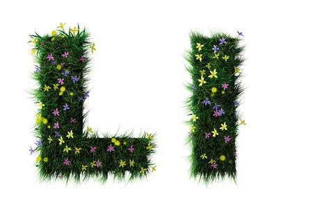Grass and flower letter
