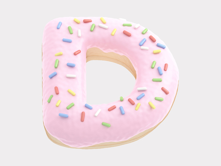 Donut font pink cream Stock Photo