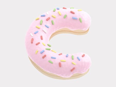 Donut font pink cream Stock Photo