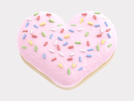 Donut heart pink cream