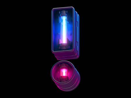 Ultraviolet neon futuristic font. Stock Photo