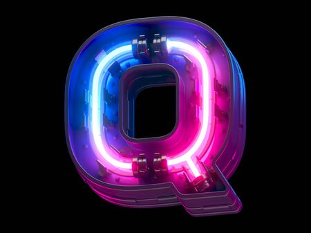 Ultraviolet neon futuristic font. Imagens