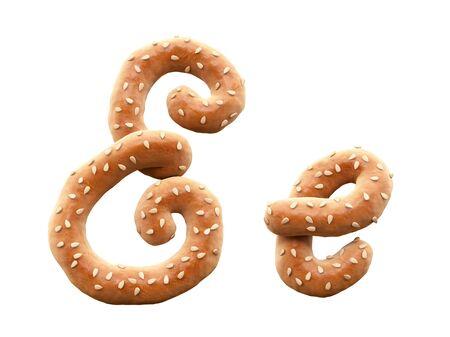 Pretzel with sesame font.
