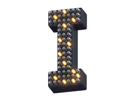 Pixel shape LED light font.