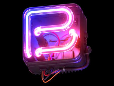Ultraviolet neon font in metal case.