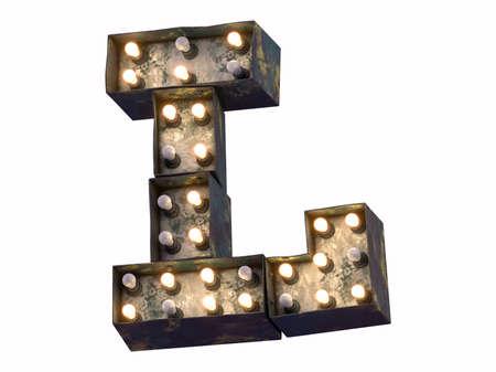 Grunge metal glowing lamp signboard font.