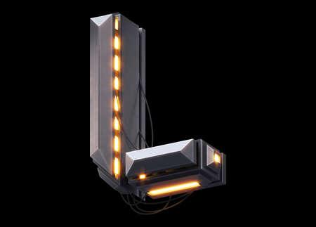 Futuristic light font. Letter L