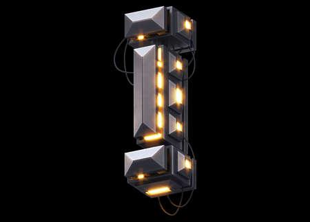 Futuristic light font.Letter I