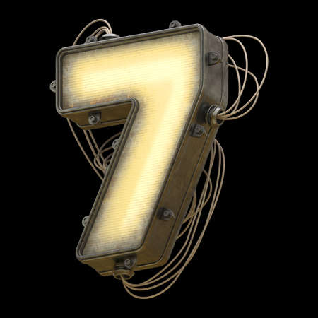 Light metal board with wires font. Number 7