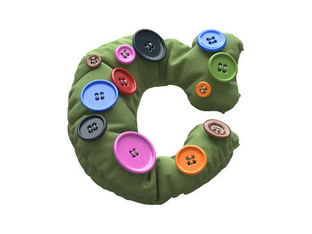 Multicolored buttons sewn to fabric font. Letter C.