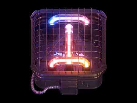 Cyberpunk Neon font. Letter I