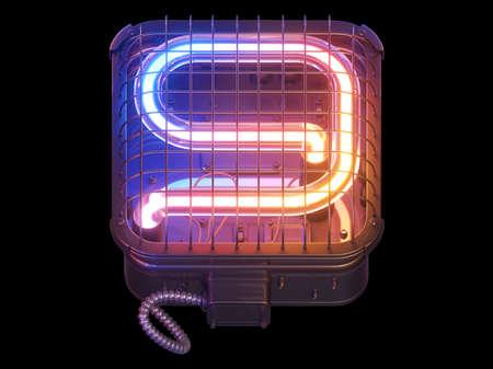 Cyberpunk Neon font. Number 9 Imagens