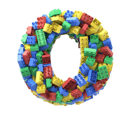 Toy colorful plastic blocks font on white background. Letter O