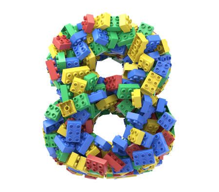 Toy colorful plastic blocks font on white background. Number 8