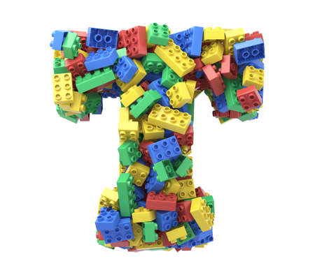 Toy colorful plastic blocks font on white background. Letter T