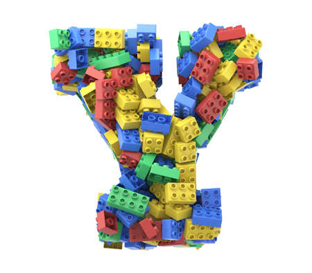 Toy colorful plastic blocks font on white background. Letter Y