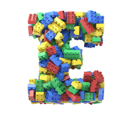 Toy colorful plastic blocks font on white background.Letter E