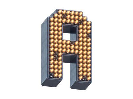 Metal pixel shape of the font with light LEDs. Stok Fotoğraf
