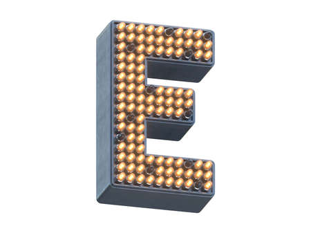 Metal pixel shape of the font with light LEDs. Imagens