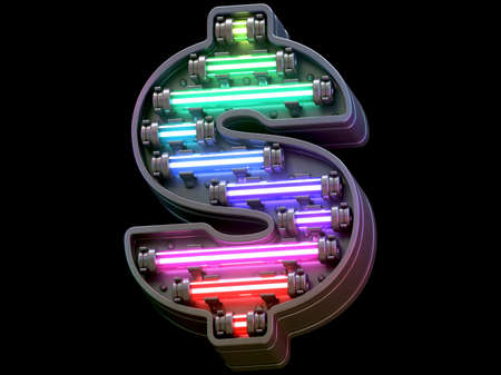 Multicolor light neon font. Imagens