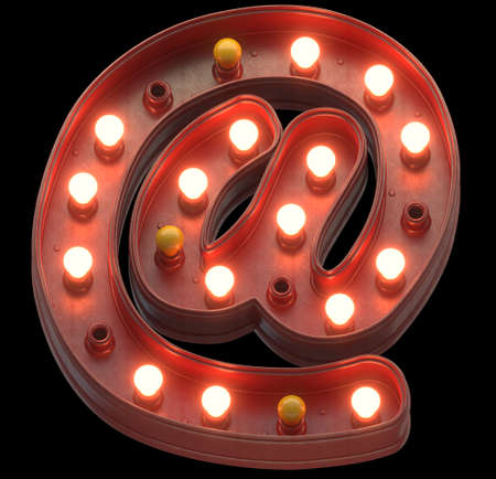 Retro red sign lamp light font. Imagens