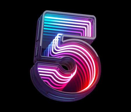 Infinity light neon font. Number 5. Stock Photo